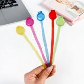 彩色長尾活扣 數據線繞線器 塑料扎繩 分類捆扎帶 5條裝