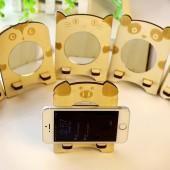 時尚創意木質動物鏡子手機座 手機支架 手機架