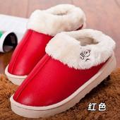情侶款居家棉拖鞋 PU皮保暖防水棉鞋-女款(大紅色)