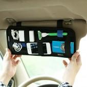 汽車遮陽彈力收納板 多功能車載置物板(黑色)