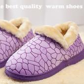 冬季保暖居家棉鞋 全包跟-紫色
