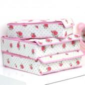 高品質有蓋內衣收納盒收納三件套 玫瑰花(粉色邊)