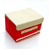 日式扣子收納箱 小號大紅色(27*20*17CM )