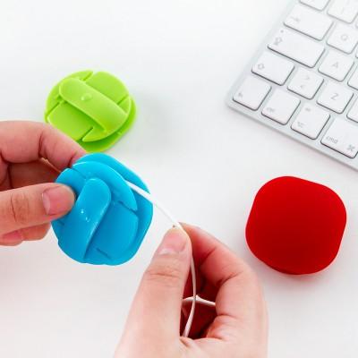 創意卡扣式糖果色繞線器集線器理線器耳機線收納