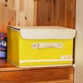 布收納箱日式扣子收納箱家居收納整理箱優質內衣收納盒子 小號黃色