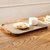 日本進口簡約方形托盤收納蓋子餐盤繽紛開口式水果盤儲物盤收納盒 38.8*26.3*2.7