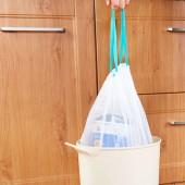廚房創意塑料袋 穿繩加厚點斷式 PE自動收口垃圾袋(8只裝)
