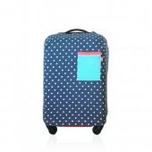 原版鋁膜袋裝小清新彈力圓點拉桿箱保護套行李箱套 棉帆布(小波點)26寸 149