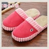 冬季保暖居家防滑棉拖鞋 麂皮絨-女款玫紅色