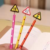 韓國文具創意木質卡通彈簧搖頭鉛筆 木制筆 6支裝-交通信號
