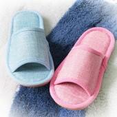 情侶亞麻拖鞋(淺藍色)D42