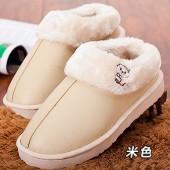 情侶款居家棉拖鞋 PU皮保暖防水棉鞋-女款(米色)