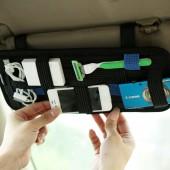 汽車遮陽彈力收納板 多功能車載置物板(撞色)