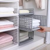 可疊加4部件組裝衣柜收納筐客廳廚房浴室收納籃塑料兒童玩具衣物收納置物筐(44*34*6cm)小號