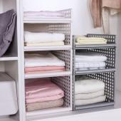 可疊加4部件組裝衣柜收納筐客廳廚房浴室收納籃塑料兒童玩具衣物收納置物筐(44*34*22cm)大號