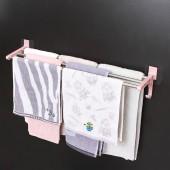彎鉤形毛巾架免打孔衛生間壁掛式浴巾架浴室毛巾桿廁所掛件置物掛架無痕 3桿(長款60cm)
