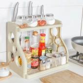 家用油鹽醬醋調味品調料架廚具收納架刀架桌面簡約廚房雙層置物架(側邊4孔)