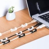 一字式自粘電線理線器固定理線夾固定夾走線夾數據線固線夾網線卡扣(30個裝)
