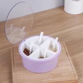 調味罐調料盒鹽罐調味罐廚房圓形多格佐料盒收納盒圓形透明蓋四格調味盒(光面款)