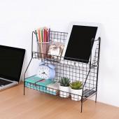 網格鐵藝雙層置物架廚房用品調料架臺面落地調味料架子收納架(2層)