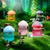 創意潮流玻璃杯超萌彩色可愛蘑菇水杯便攜隨手杯少女泡茶杯杯子280ML