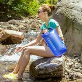 戶外防水袋防水包游泳收納袋沙灘浮潛溯溪密封防偷跟屁袋子漂流袋 (藍色 15L )047
