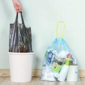 家用加厚垃圾袋抽繩一次性手提式塑料袋廚房自動收口的垃圾收納袋(18只裝 45*50cm)370