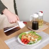 自動翻蓋玻璃油壺防漏廚房倒油瓶家用大容量油罐裝醬油醋調料瓶(630ml)