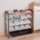 經濟型塑料防塵省空間鞋架宿舍門口鞋子收納架子簡易多層鋼管鞋架(加寬款帶墊片)