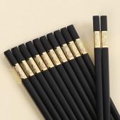 家用合金筷子廚房高檔耐高溫易清洗防滑防霉筷日式料理專用尖頭筷子(10雙1盒)