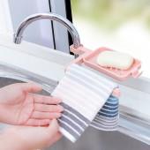 家用廚房水龍頭瀝水置物架水槽收納架免打孔水池夾式海綿抹布架