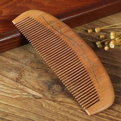 牛角木質梳子檀木梳桃木梳防靜電家用梳子女士大號卷發梳木質牛角木梳