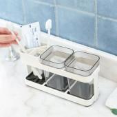 簡約日韓時尚牙刷座塑料涮牙缸單雙人置物架創意情侶小籃子免打孔洗漱口杯套裝( 雙杯)A-2215