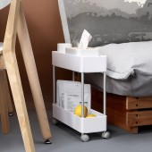 廚房置物架浴室整理架落地多層儲物架子可移動小推車帶輪收納架 窄款(二層)