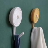 創意簡約紐扣掛鉤壁掛式強力承重防水鉤廚房無痕免打孔門后浴室粘鉤(小號純色2個裝)