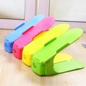 簡易炫彩多功能創意可伸縮雙層整理鞋架 塑料收納整理架