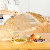 廚房可折疊紗網餐桌罩防蒼蠅蓋菜罩 家用雙骨圓形飯罩遮菜傘飯菜食物罩HP-907(大號)