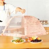 廚房可折疊紗網餐桌罩防蒼蠅蓋菜罩 家用雙骨圓形飯罩遮菜傘飯菜食物罩HP-906(中號)