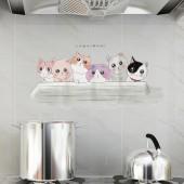 廚房防油貼自粘貼紙家用灶臺耐高溫油煙貼卡通防油防水墻貼瓷磚貼(透明款)