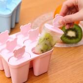 雪糕冰棒模具創意可愛卡通冰棍制作盒制冰盒凍雪糕模具(6個一組)扁形款 9841