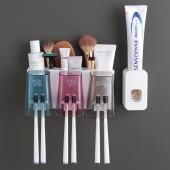 創意衛生間免打孔牙刷置物架牙杯牙刷收納架牙刷杯架子牙刷壁掛漱口杯套裝(三杯款)