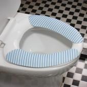 家用粘貼式馬桶墊印花可水洗重復使用馬桶坐墊通用坐便墊防水坐墊(藍色條紋)