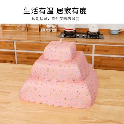 家用可折疊加厚餐桌罩廚房防蒼蠅食物罩桌蓋冬季保溫飯菜罩(財神貓)方形