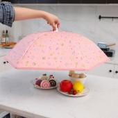 家用可折疊加厚餐桌罩廚房防蒼蠅食物罩桌蓋冬季保溫飯菜罩(財神貓)傘形