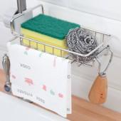 水池抹布掛架瀝水掛籃廚房洗碗海綿水槽收納架可調節水龍頭置物架(帶抹布架)