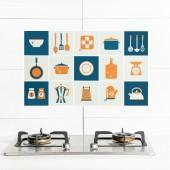 自粘防水廚房防油貼紙耐高溫灶臺用瓷磚櫥柜油煙墻貼鋁箔錫紙加厚 75*45cm