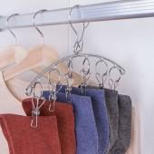 不銹鋼弧形多夾子晾衣架多功能家用衣服夾防風晾襪架曬襪子掛鉤(弧形6夾)