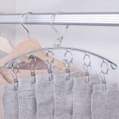 不銹鋼弧形多夾子晾衣架多功能家用衣服夾防風晾襪架曬襪子掛鉤