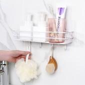 免打孔浴室毛巾架洗手間洗漱臺化妝品收納架壁掛式排鉤置物架(四連掛)