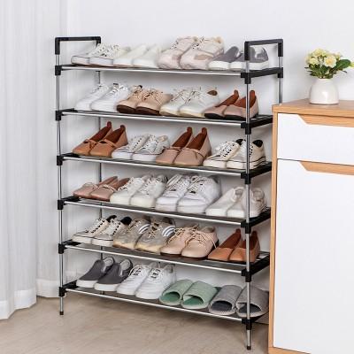 不銹鋼多層鞋架門口收納鞋架組合式簡易鞋架子家用室內收納神器(12粗管鞋架79.5cm)